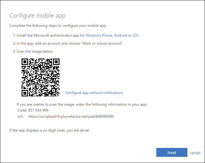 Screenshot of the mobile app configuration instructions